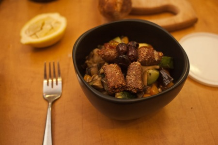 couscous with vegetables and lamb sausage