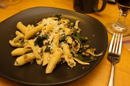 Lentil kale pasta on plate
