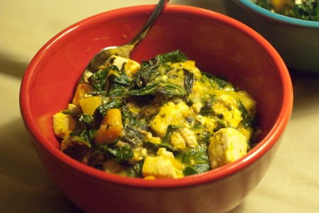 Kabocha and collards curry